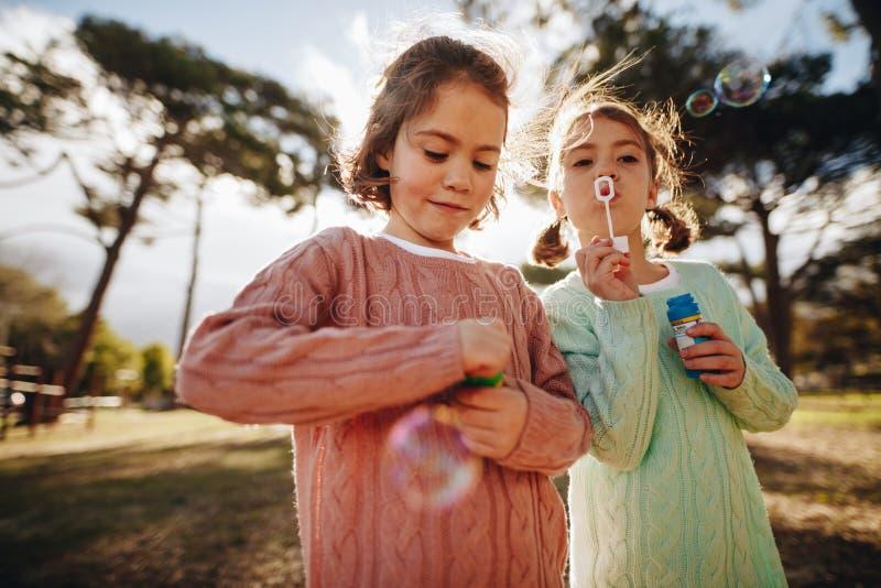 Irmãs que jogam com bolhas de sabão no parque fotografia de stock royalty free