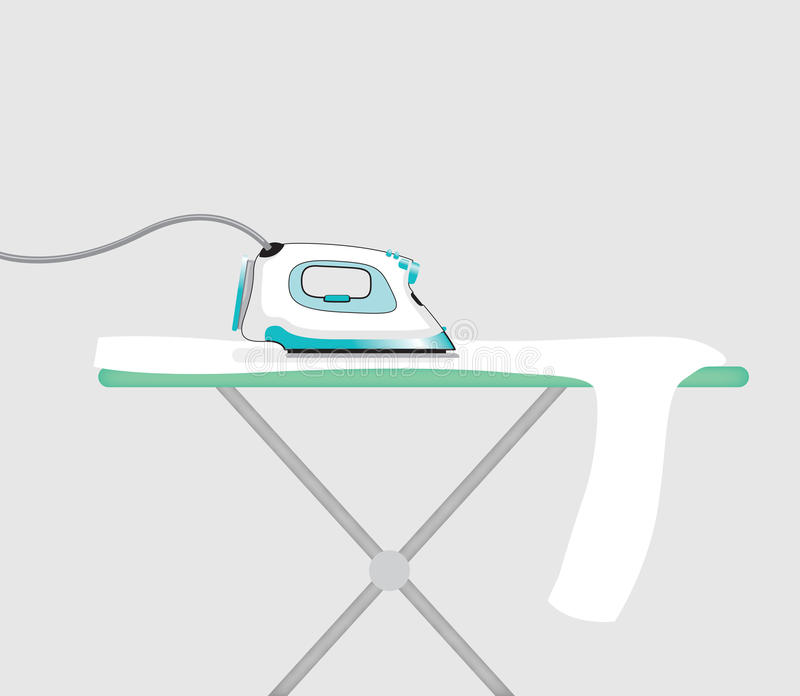 An iron. A blue iron on a plain background royalty free illustration