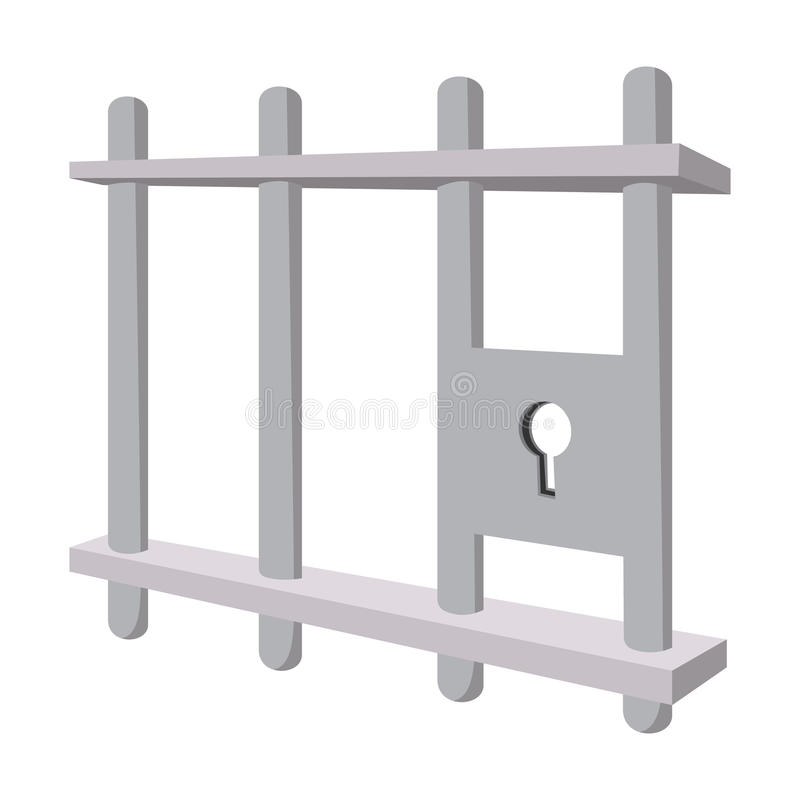 Iron bars door with a locking mechanism. Cartoon icon on a white background stock illustration