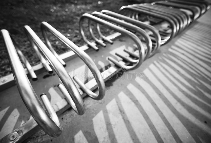 Iron bench monochrome in the park royalty free stock photos