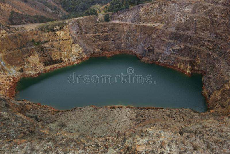 Iron Blow open cut mine near Queenstown Tasmania stock photography