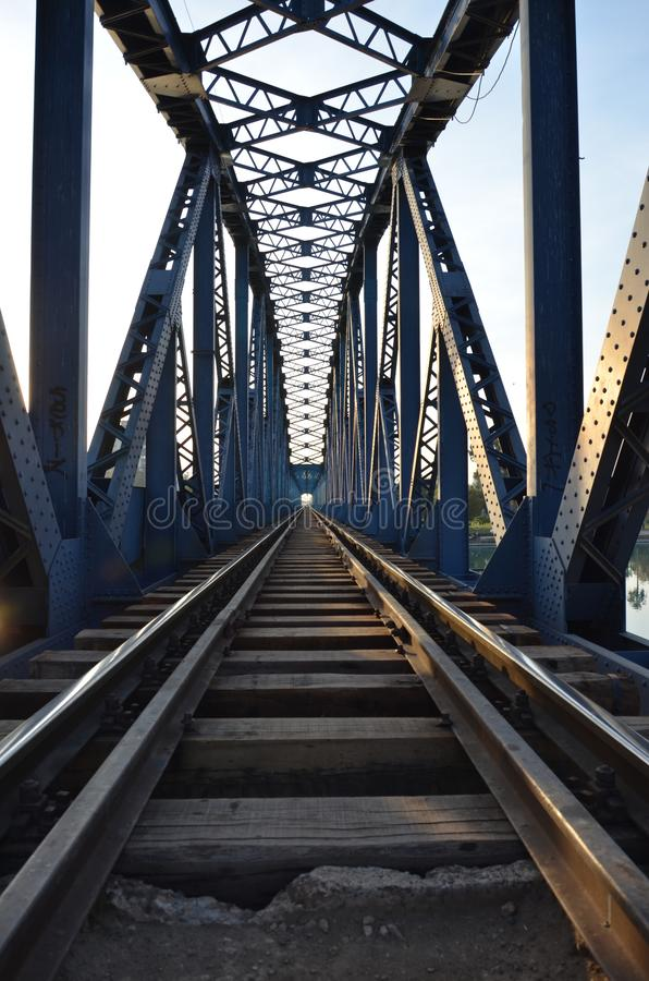 Iron bridge Adana Turkey. Iron bridge 1912 in Adana Turkey famous bridge built German bridge length 530 meter Still railway on the seyhan river steel and billet stock image