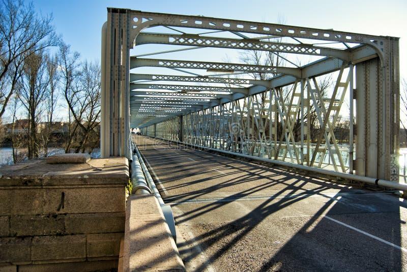 Iron Bridge in the city of Zamora stock photos
