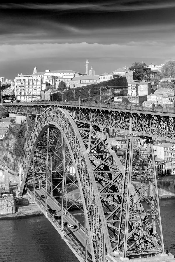Iron Bridge D. Luiz in Oporto, Portugal royalty free stock photo