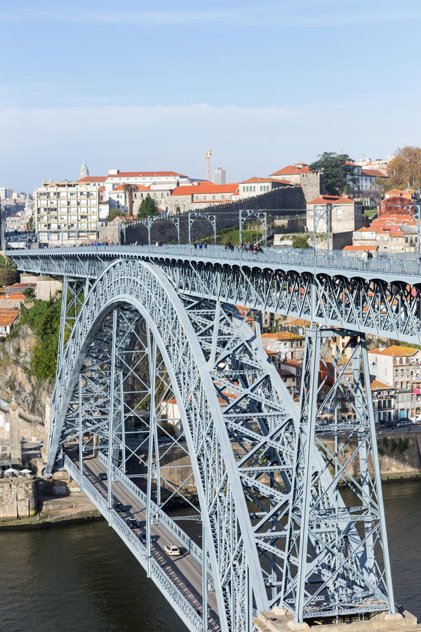 Iron Bridge D. Luiz in Oporto, Portugal royalty free stock image