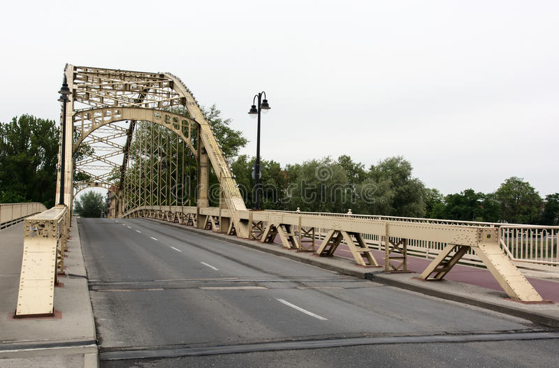 Iron bridge in Gyor, Hungary. Industrial architectural scene. Infrastructure royalty free stock photo
