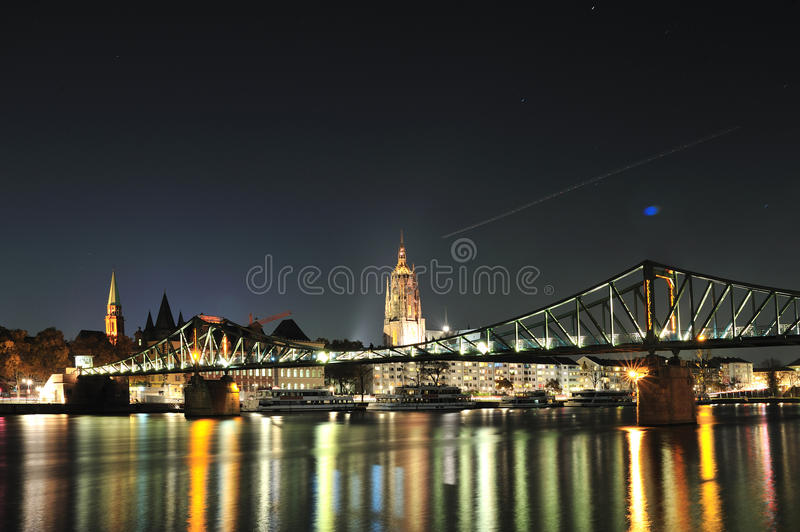 Frankfurt city view by night royalty free stock image