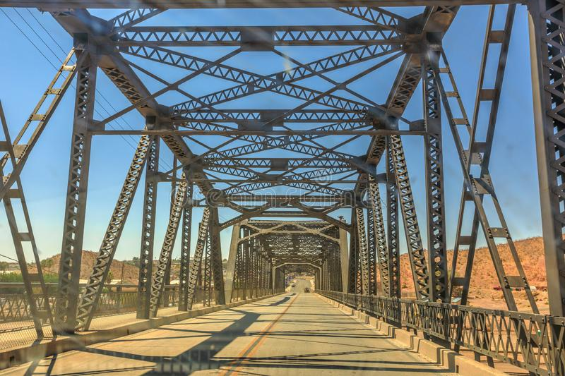 Iron bridge Barstow. Iron bridge over the railroad in Barstow California on the historic Route 66. North 1st Street Bridge in United States of America royalty free stock images