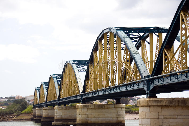 Iron Bridge in Portimao,Portugal. Big Iron Bridge in Portimao,Portugal royalty free stock photography