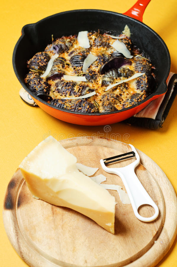 Download Iron Cast Pot With Baked Potatoes Stock Image - Image of herb, mustard: 23546049