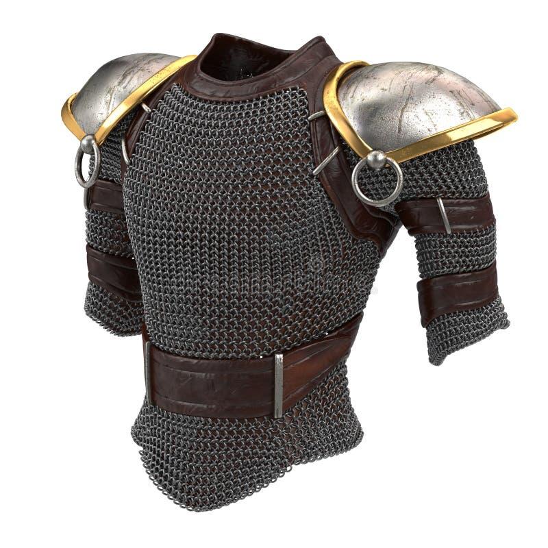 Iron chain armor on isolated white background, 3d illustration stock illustration