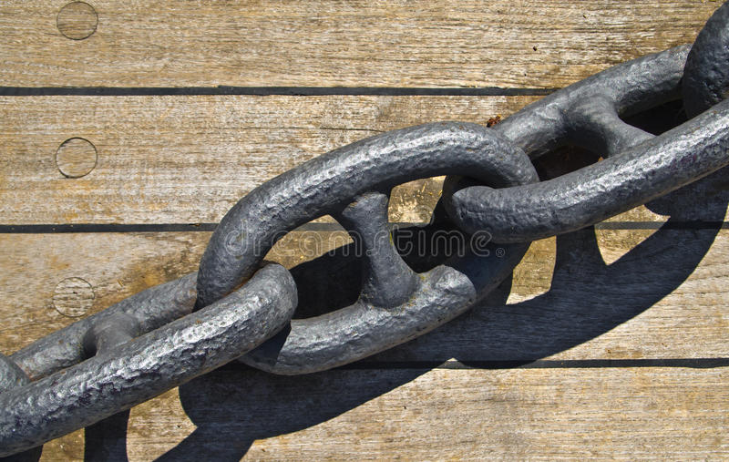 Iron chain for boats anchor stock images