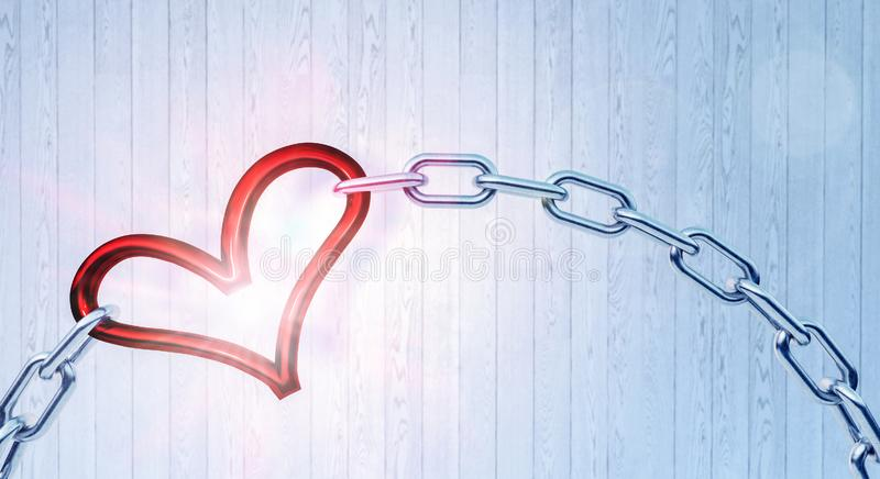 Iron chain with red heart as the one the links. 3D Rendering stock photos