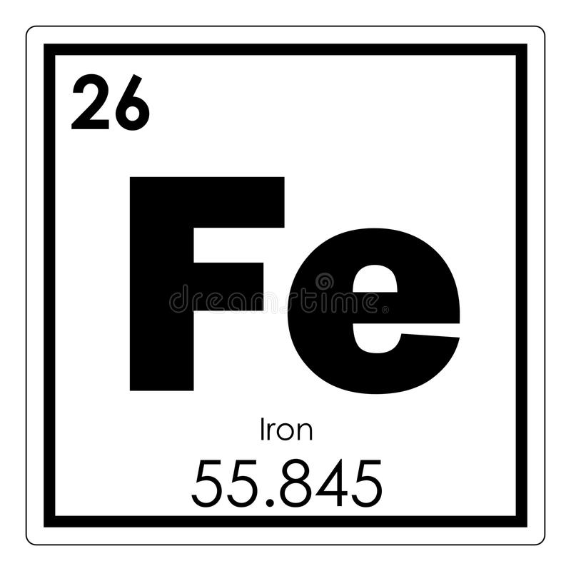 Iron Element Symbol Black And White Iron chemical element ...