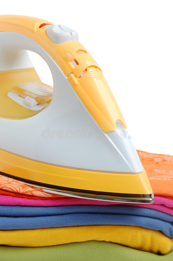 Download Iron and clothes stock image. Image of pile, modern, orange - 10050357
