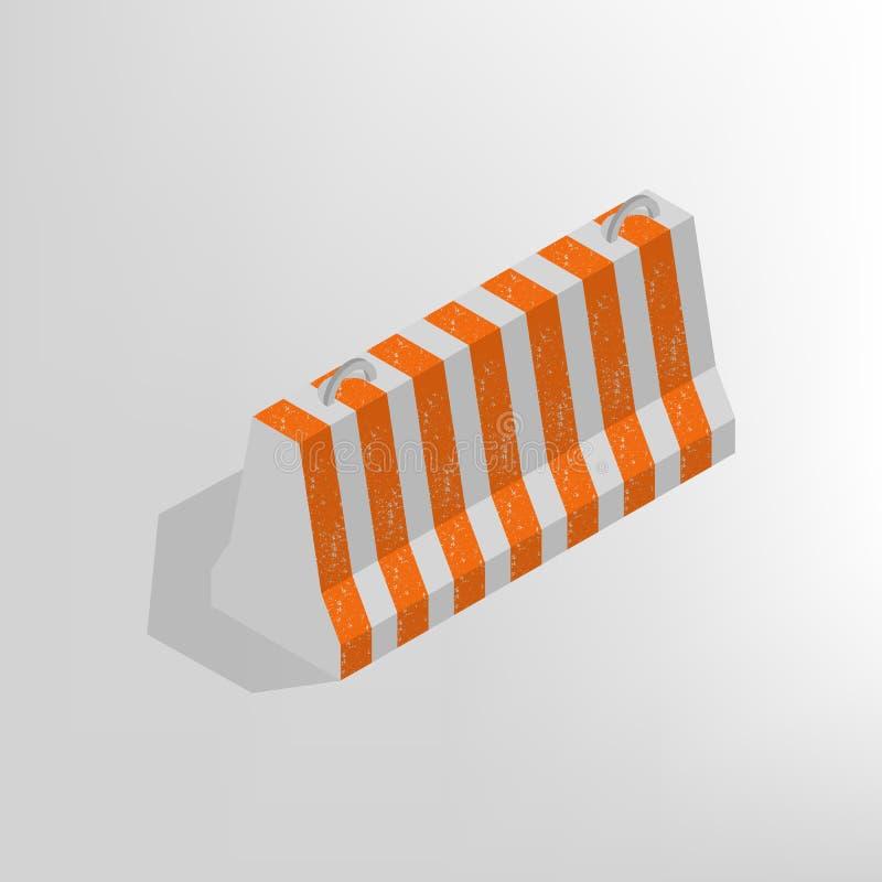 Iron concrete block isometric, vector illustration. vector illustration