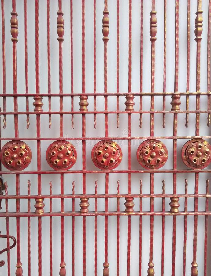 Iron design doors steel decoration. In Thailand royalty free stock photography