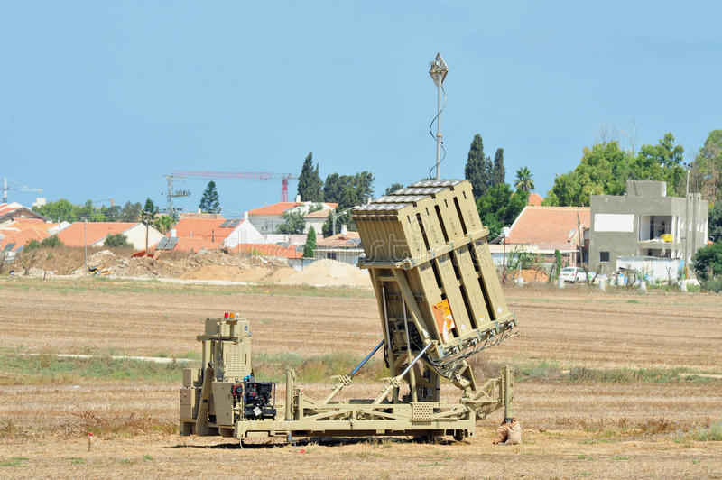Iron Dome Returns to Southern Israel. ASHKELON, ISRAEL - AUGUST 7: The Defense Ministry informed the Ashkelon Municipality that the Iron Dome rocket interception royalty free stock images