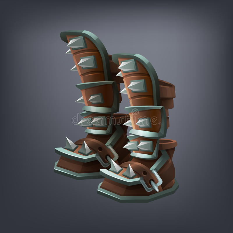 Iron fantasy armor boots for game or cards. Vector illustration stock illustration