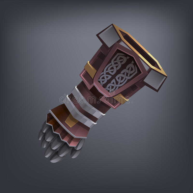 Iron fantasy armor hand glove for game or cards. Vector illustration royalty free illustration