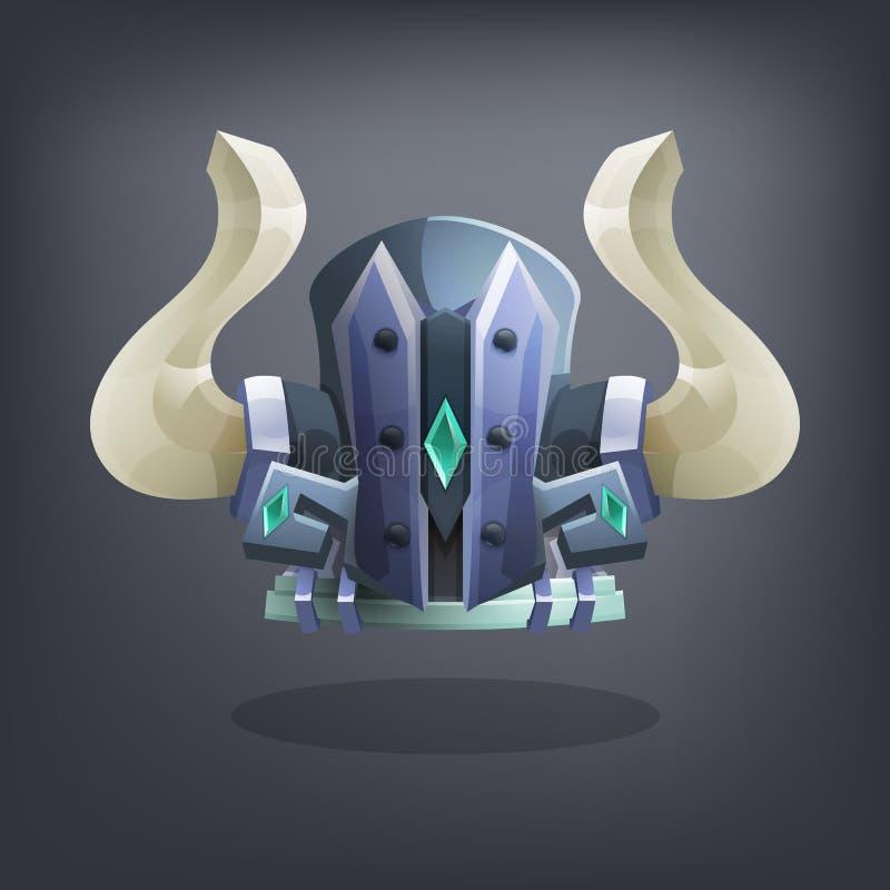 Iron fantasy armor helmet for game or cards. Vector illustration royalty free illustration