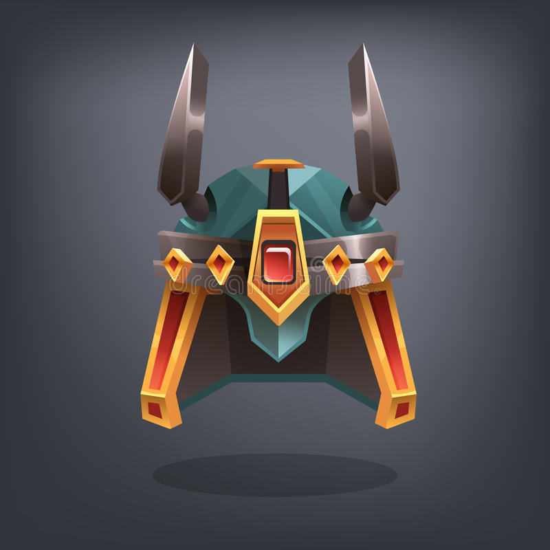 Iron fantasy armor helmet for game or cards. Vector illustration vector illustration