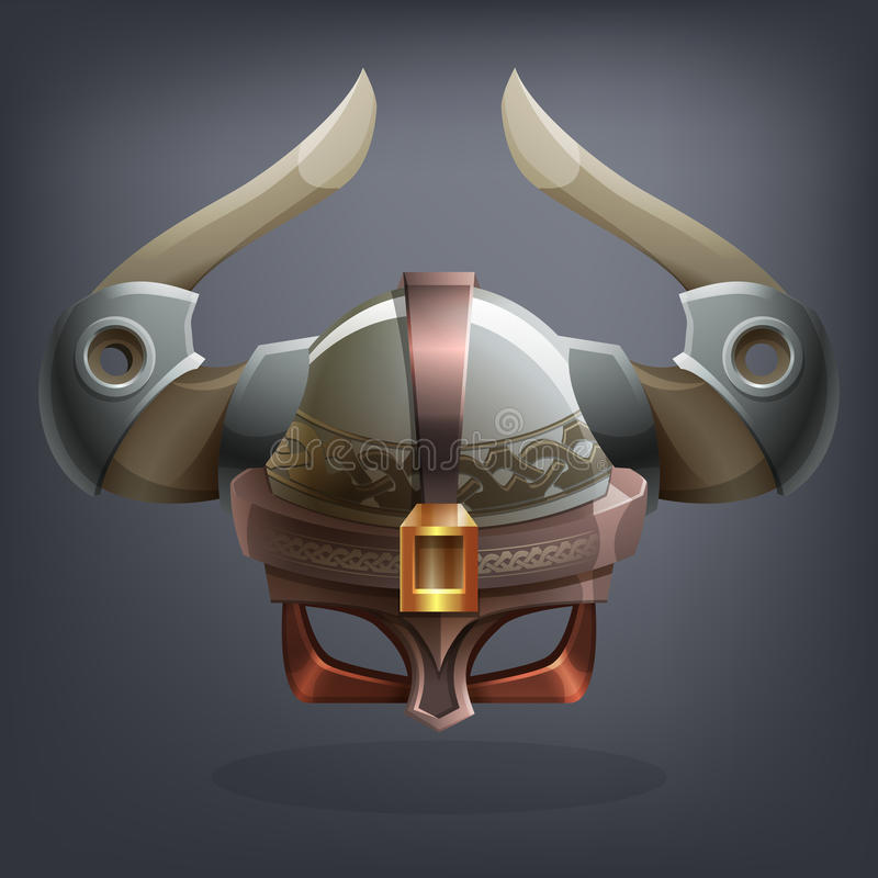 Iron fantasy armor helmet for game or cards. stock photo
