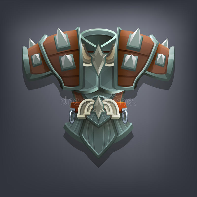 Iron fantasy chest armor for game or cards. Vector illustration vector illustration