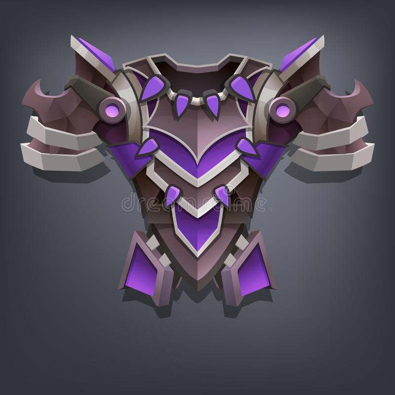 Iron fantasy chest armor for game or cards. Vector illustration royalty free illustration