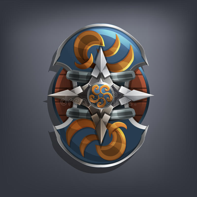 Iron fantasy shield for game or cards. Vector illustration stock illustration