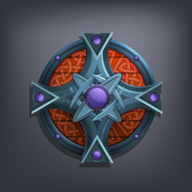 Iron fantasy shield for game or cards. stock photo