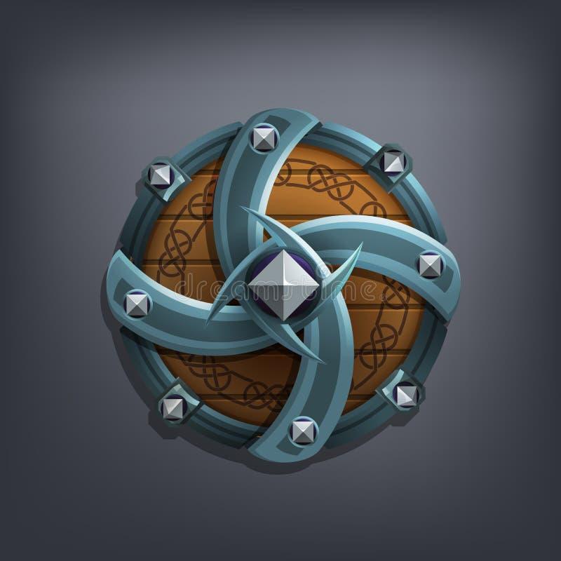 Iron fantasy shield for game or cards. stock photos