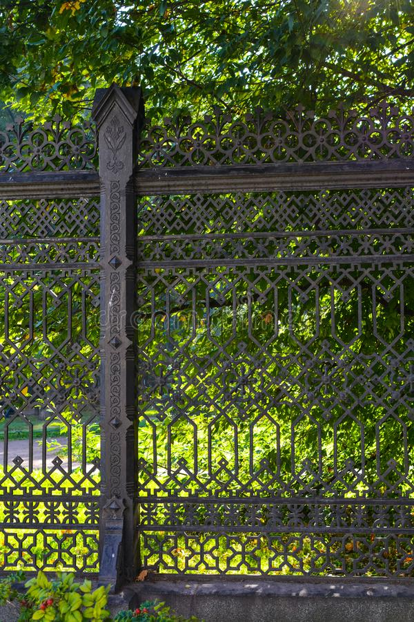 Iron fence at home on Ligovsky Prospect, St. Petersburg, Russia royalty free stock images