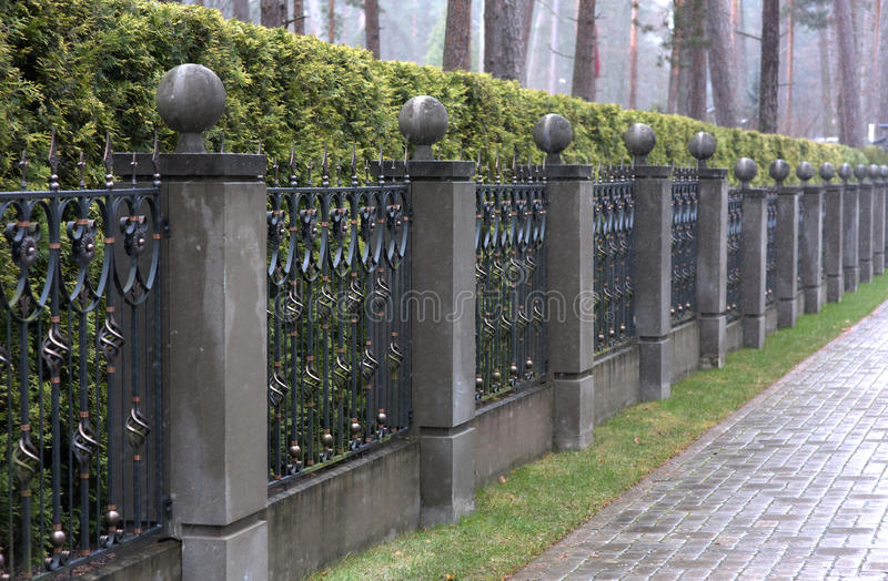 Iron Fence With Stone Pillars Stock Photo Image Of