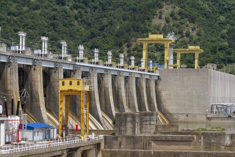 Iron Gate Hydroelectric Plan. Iron Gat Hydroelectric Plant in the Iron Gate gorges on the Danube River between Serbia and Romania stock image