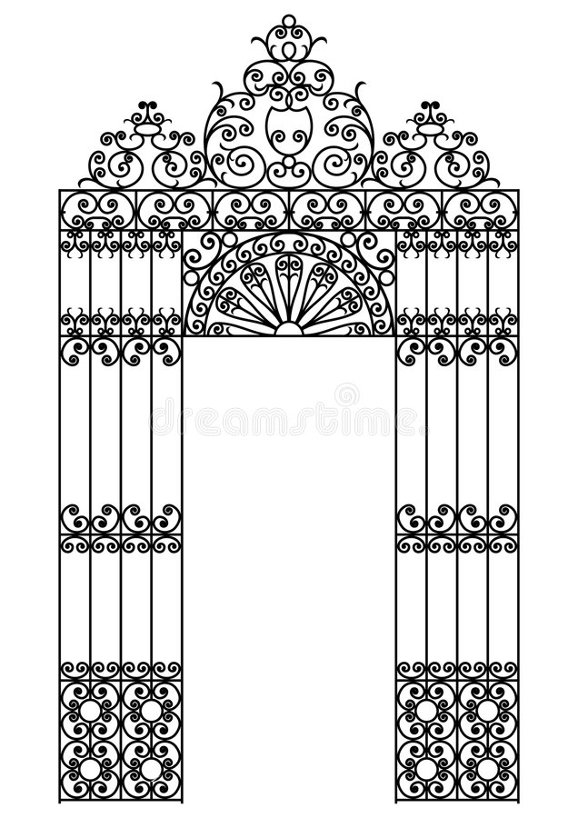 Iron gate. Vector image of a wrought iron gate royalty free illustration