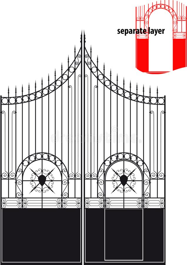 Iron gate. Beautiful antique forged metal gates. The valves and gate are located on separate layers royalty free illustration