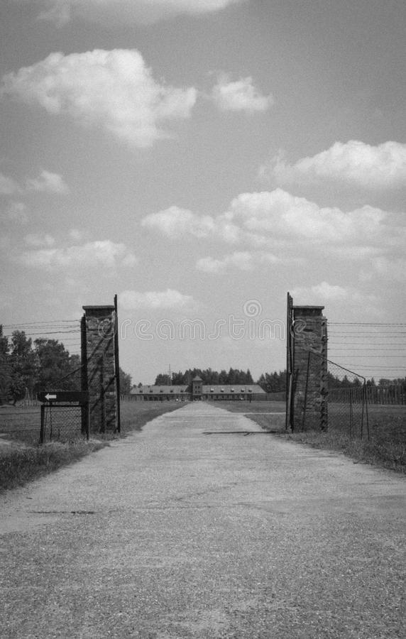 Iron gate in Birkenau. Auschwitz-Birkenau Concentration Camp. Memorial to Auschwitz. Concentration camp in Poland. Horrors of war. Factory of death. The Second stock image