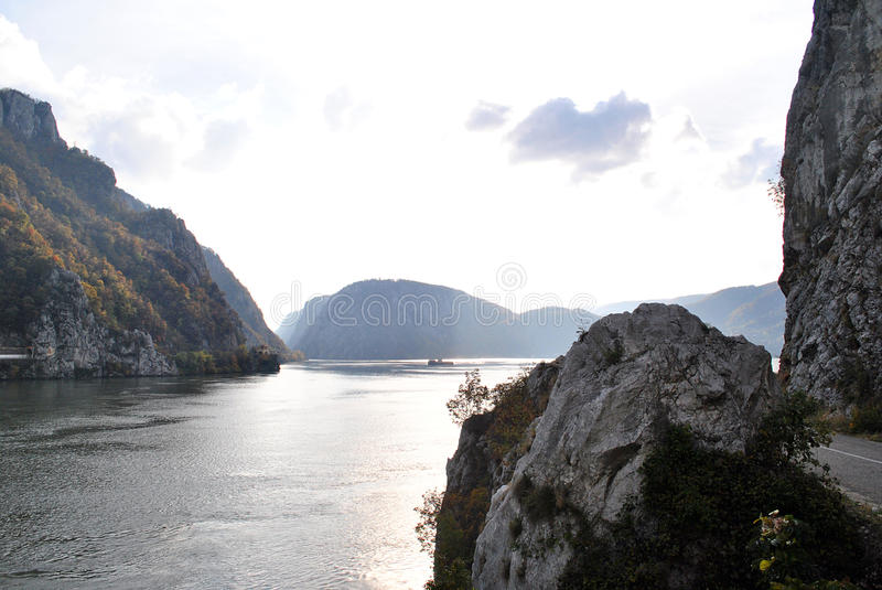 Iron Gate. Danube at the entrance in Romania stock image