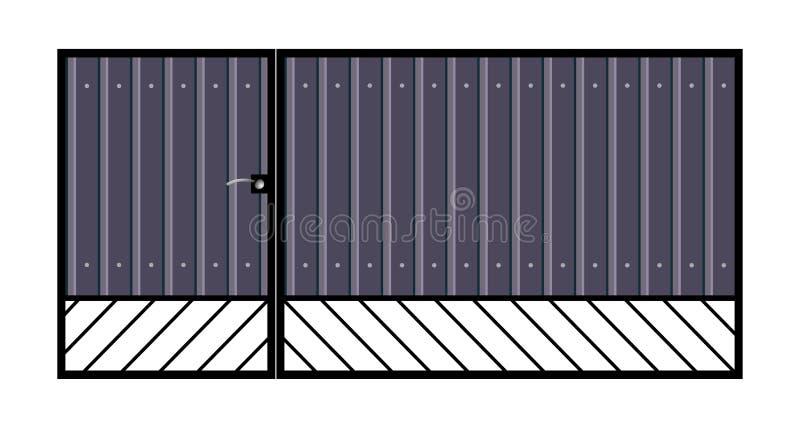Download Iron gate with door. stock vector. Image of lattice, grill - 33782473