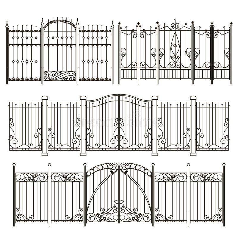 Iron gate and fence design with different decorative elements. Vector illustrations vector illustration