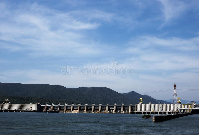 The Iron Gate I Hydroelectric Power Station. TURNU SEVERIN-ROMANIA, SEP 16:The Iron Gate I Hydroelectric Power Station is the largest dam on the Danube river and royalty free stock photography