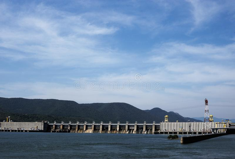 The Iron Gate I Hydroelectric Power Station. TURNU SEVERIN-ROMANIA, SEP 16:The Iron Gate I Hydroelectric Power Station is the largest dam on the Danube river and royalty free stock photos