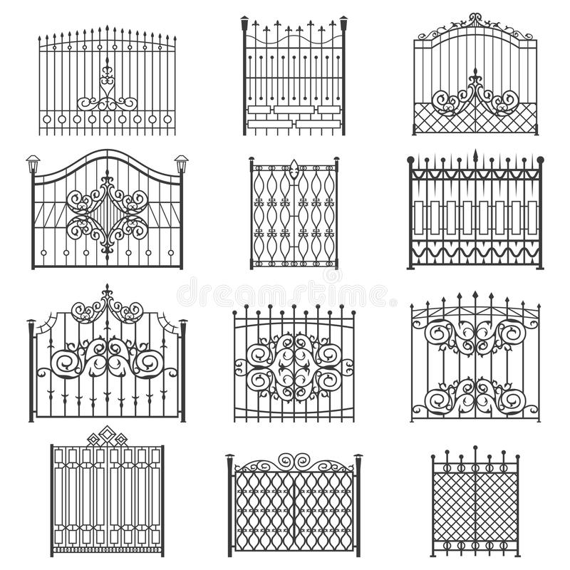 Iron gate line art set. Uniquely designed for private safe, friendly and welcoming house or garden. Vector flat style illustration isolated on white background stock illustration