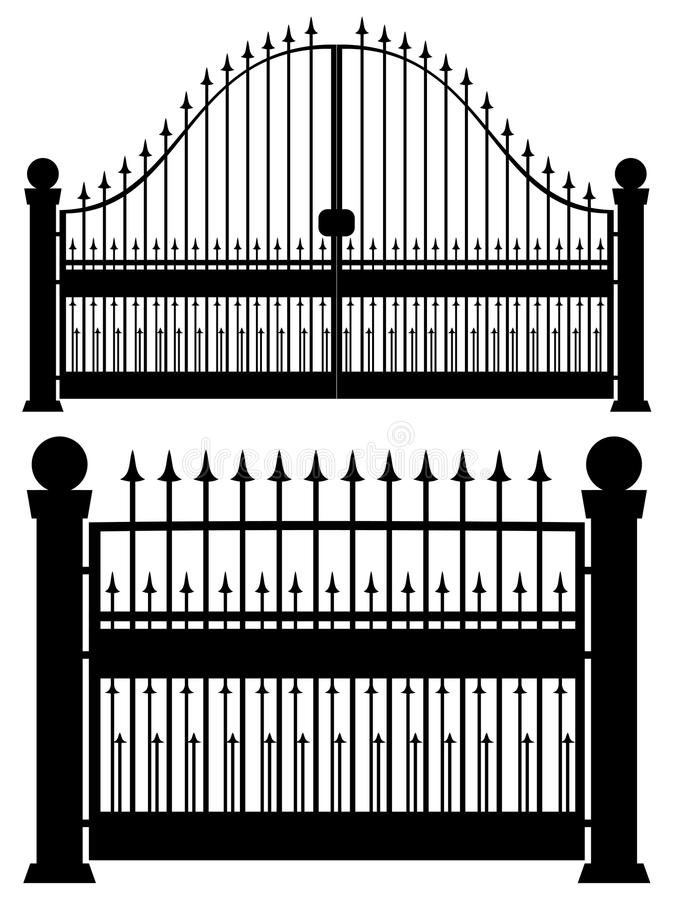 Iron Gate Silhouette. Decorative black silhouette of iron fence with gate stock illustration