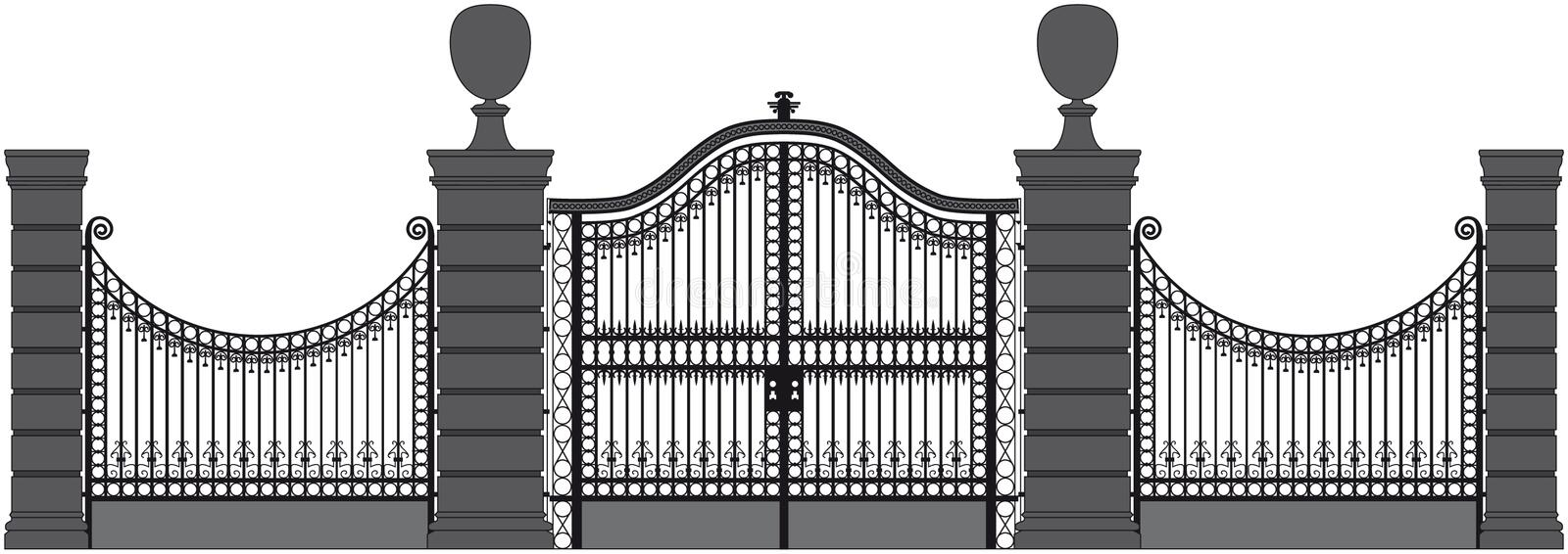 Iron gate. Vector drawing of a iron gate stock illustration