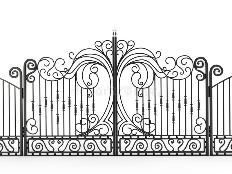 Iron gate. On white background royalty free illustration