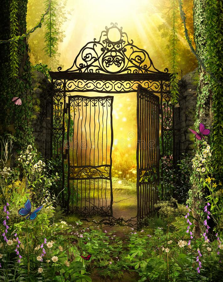 Free Iron Gateway To A Secret Garden Royalty Free Stock Image - 176397856