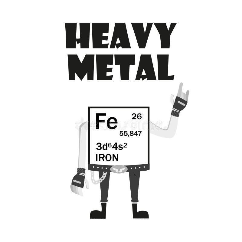 Iron - heavy metal from periodic table, metalhead stock illustration