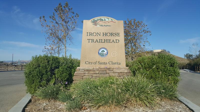 Iron Horse Trailhead Monument stock photography